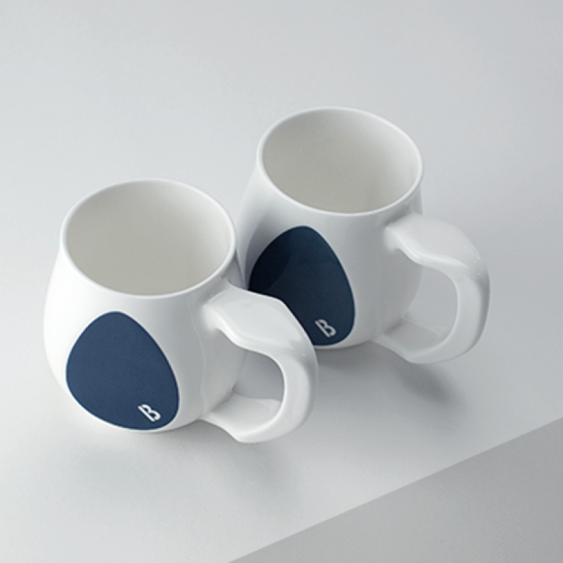Ceramic dark blue coffee mugs