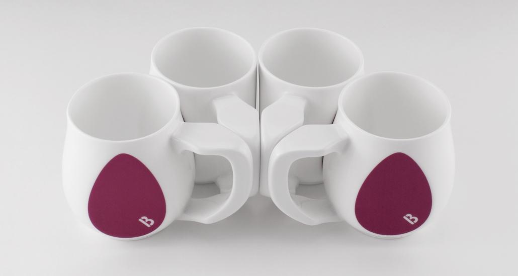 Ceramic purple coffee mugs