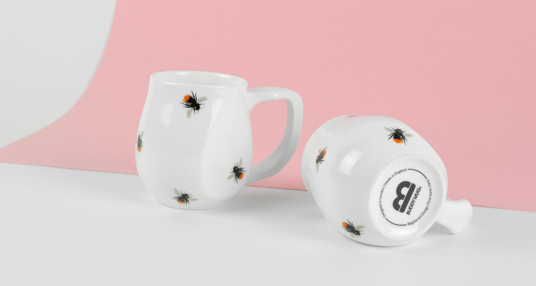 Ceramic Red Bees mugs