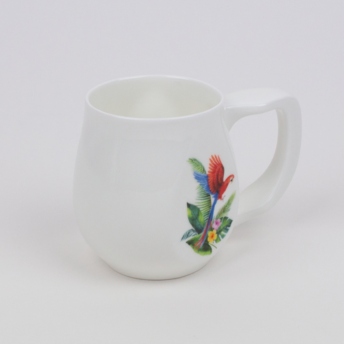 White fine bone china mug with a colourful parrot printed on the side.