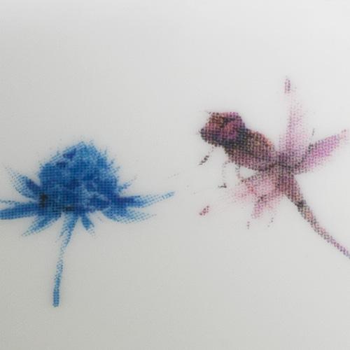 Close up of the Dragonfly print on a ceramic mug